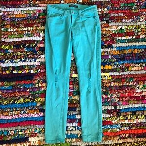 Levi's 524 Too Superlow Teal Distressed Jeans